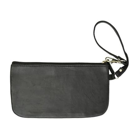 RFID Safe Soft-Sided Premium Leather Zippered Wristlet Wallet. RFID P1716 Black ()