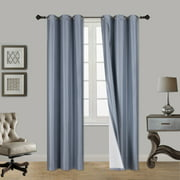"(SSS) 2-PC Slate Blue Solid Blackout Room Darkening Panel Curtain Set, Two (2) Window Treatments of 37"" Wide x 84"" Length Each Panel"