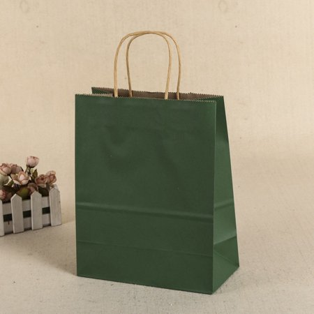 General Gift Shopping Garment Square Paper Packing Bag Durable Handle Recyclable Kraft Paper Bag Multiple Color Choice Color:Dark green Size:16X22X8CM (Kraft Square)