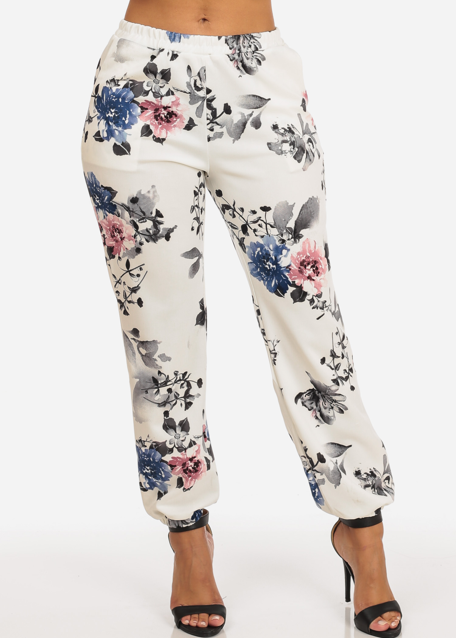 Womens Juniors Fashion Casual Pull On Style High Waisted Floral Print White Jogger Pants 10826T