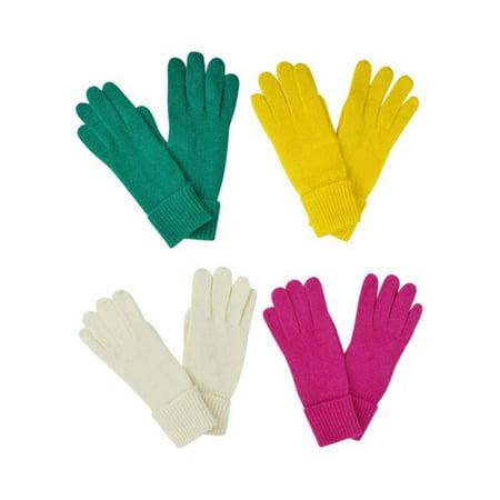Yellow Green Fuchsia Off White 4-Pack Winter Wool Angora Blend Women's Gloves](Green And Yellow Gloves)