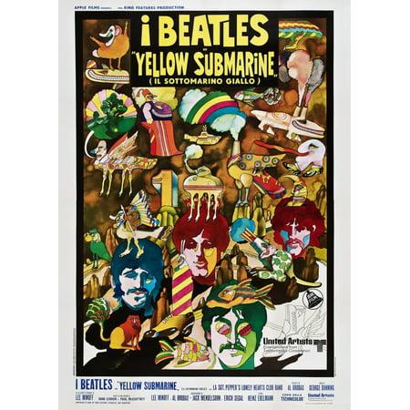 Yellow Submarine The Beatles (8 x 10) Italian Poster Bottom From Left Ringo Starr Paul Mccartney John Lennon George Harrison 1968 Movie Poster Masterprint (8 x