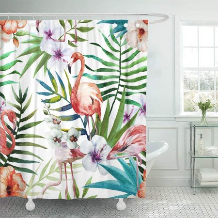 BSDHOME Green Floral Flamingos Pattern Watercolor Tropical Pink Flower Exotic Hand Summer Vintage Abstract Shower Curtain 66x72 inch - image 1 de 1