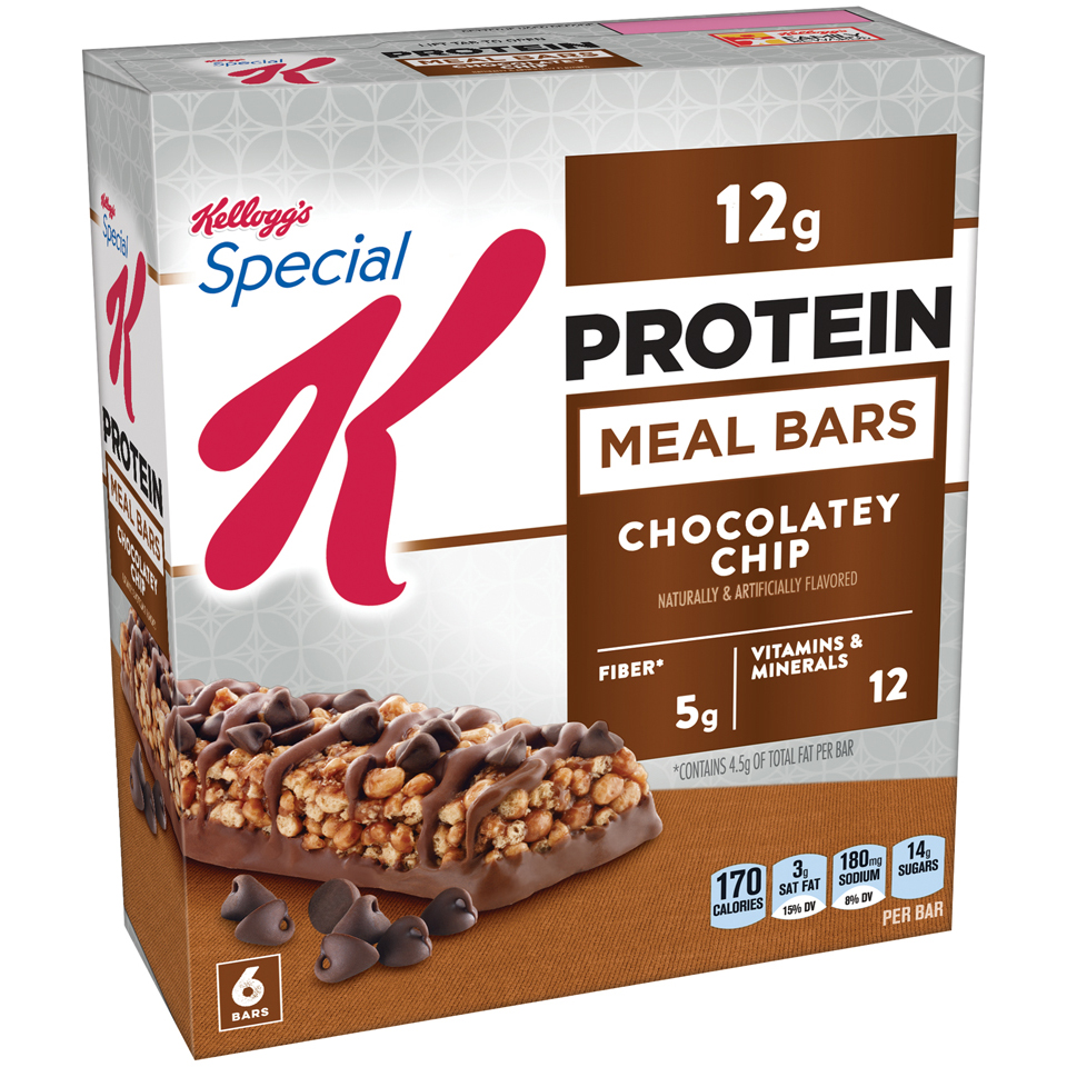 Kellogg's Special K Protein Meal Bar, Chocolatey Chip, 12g Protein, 6 Ct