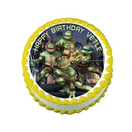 TMNT Teenage Mutant Ninja Turtles round edible frosting cake topper decoration (Ninja Turtle Cake Kit)