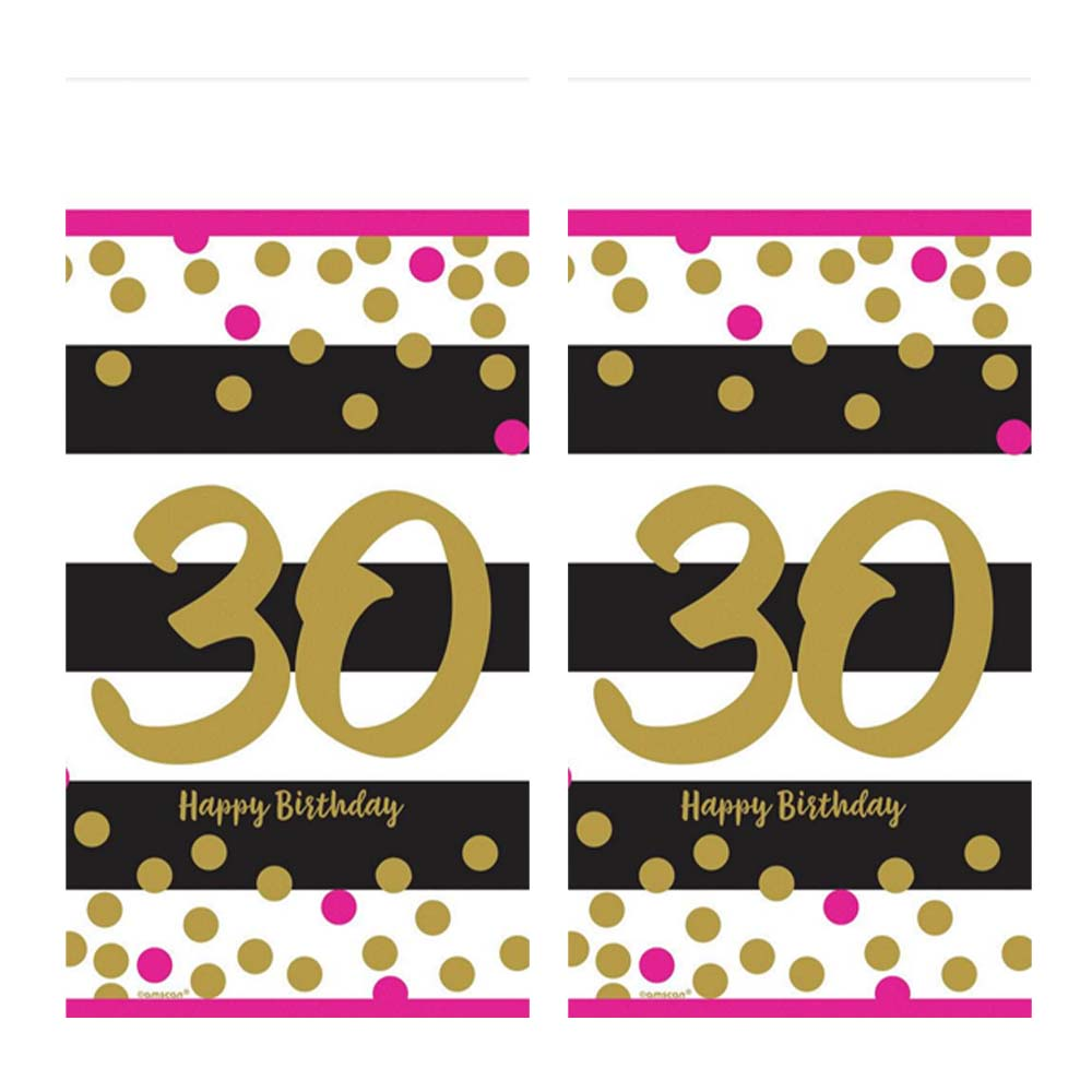 Pink & Gold 30th Birthday Plastic Tablecovers (2)
