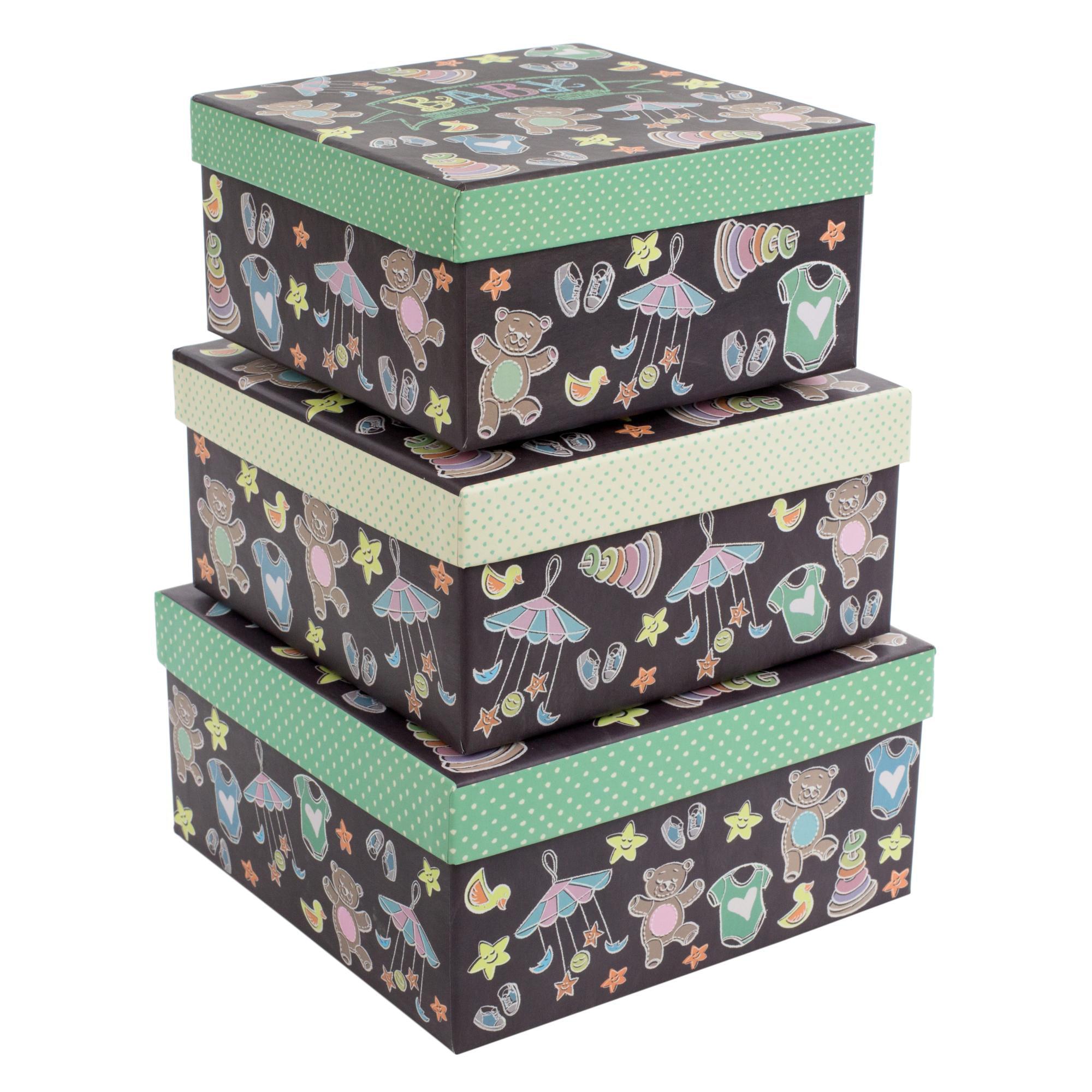 Tricoastal Design- Set Of 3 Decorative Storage Boxes Teddy Bears And Toys Print