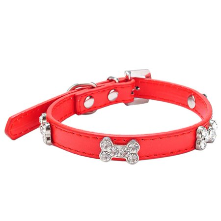 Iuhan Dog Collar Bling Crystal With Bone Necklace Pet Puppy Cat RD/M