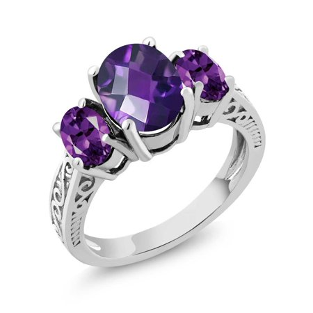 2.50 Ct Oval Checkerboard Purple VS Amethyst 925 Sterling Silver 3-Stone Ring