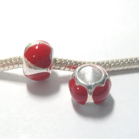Red Enamel Heart Charm (3 Beads - Red Heart Barrel Enamel Silver European Charm Bead E1322 )