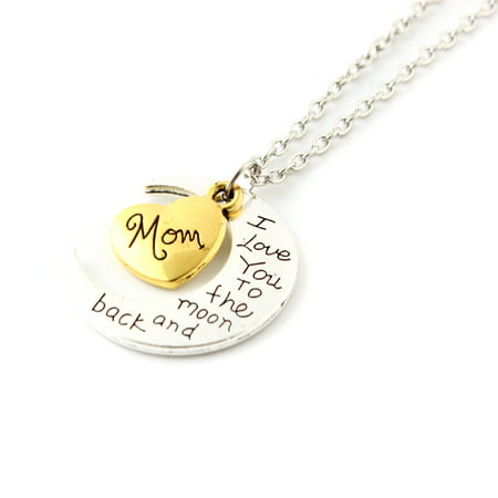 Fashion Jewelry I Love You Family Mom Birthday Gift Pendant Necklace for Women Girl - Mom (Army Mom Pendant)