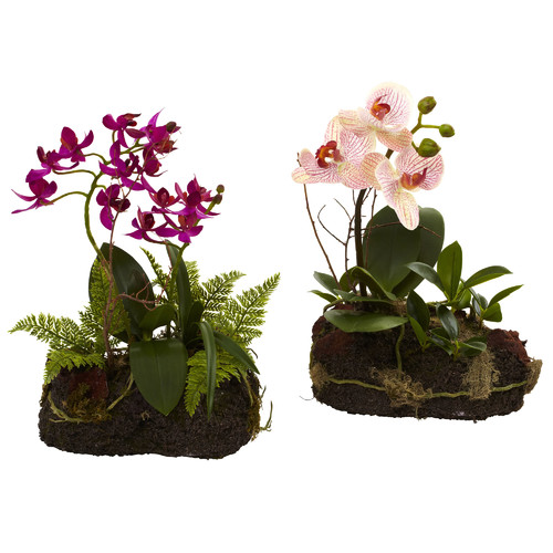 Nearly Natural 2 Piece Orchid Island Set
