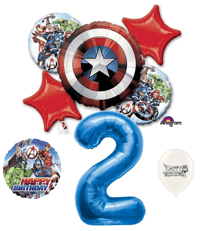 2nd Birthday Marvel Avengers Captain America Shield Balloons Bouquet