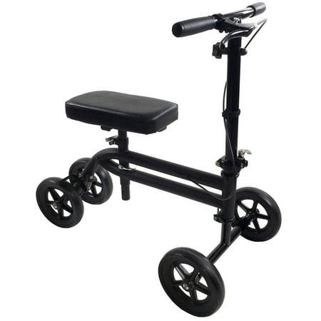 Economy Knee Scooter Steerable Knee Walker Medical Leg Scooter Crutch Alternative In Matte Black