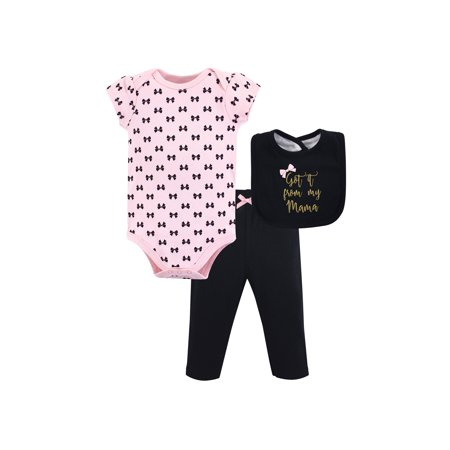 Bodysuit, Pant & Bib 3Pc Set (Baby Girls)