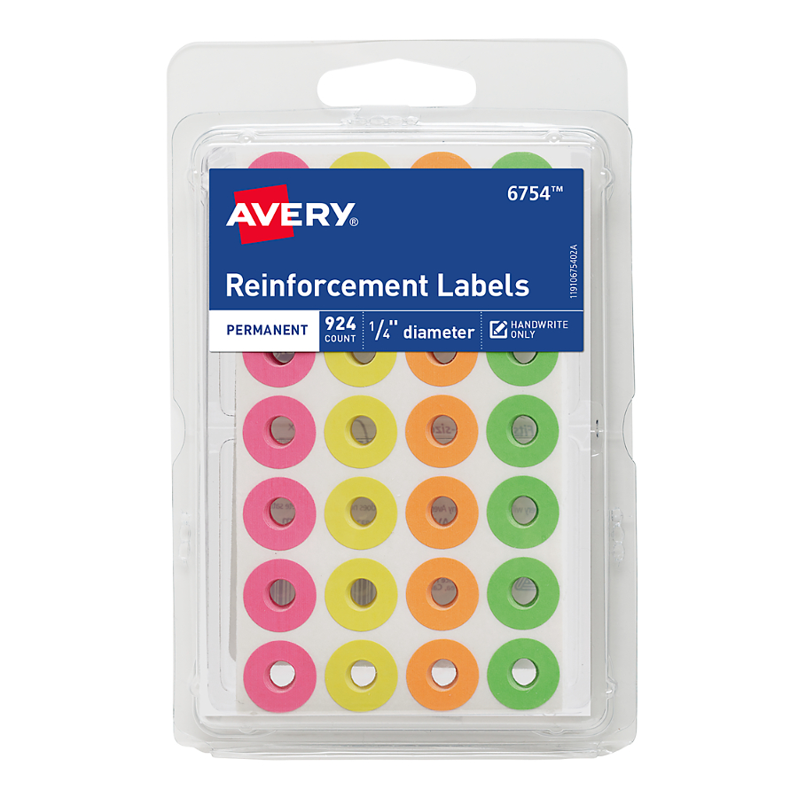 (4 Pack) Avery Assorted Neon RFRC Rounds, 924 ct