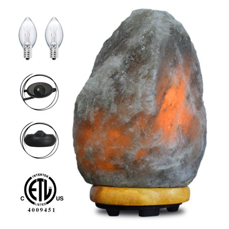 Himalayan Glow Very Rare Large Natural Gray Salt Lamp 2 Light Bulbs Walmart Com