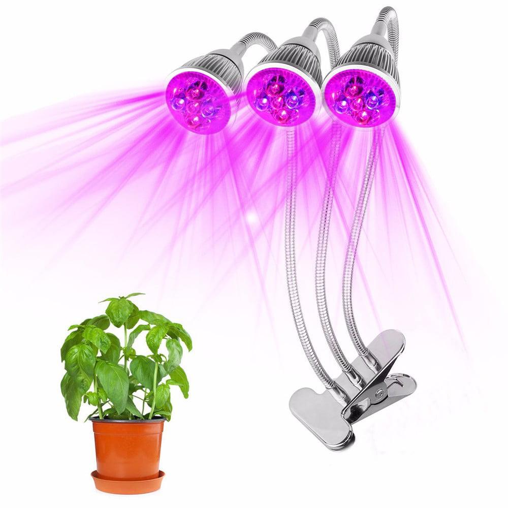360 Degree Flexible Triple Head Led Grow Light Plant Hydroponics Lamp 15W