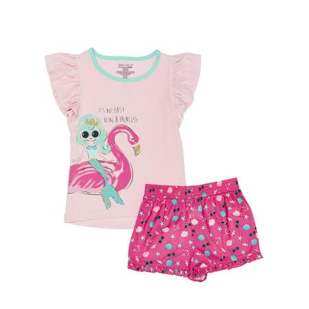 Girls' Girl's Mermaid and Flamingo 2 Piece Pajama Sleep Set (Little Girl & Big Girl) - Flamingo Girls