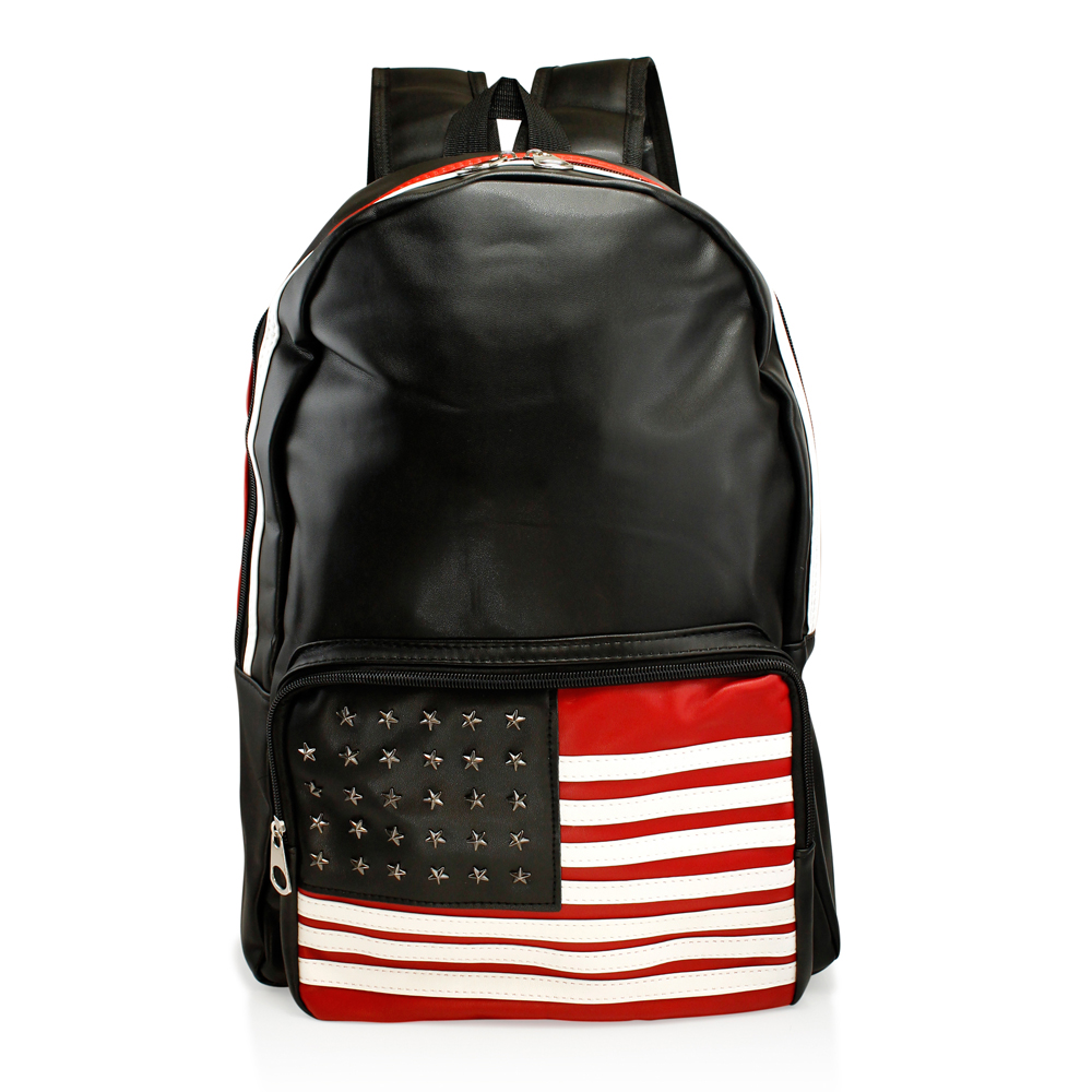 Fashion American Flag Women Canvas School Bag Girl Cute Satchel Travel School Backpack Shoulder Rucksack - Black