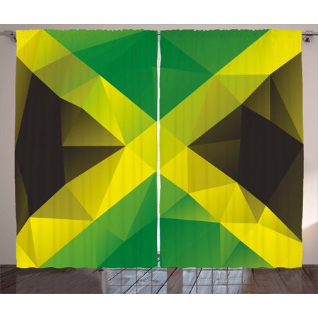 Jamaican Curtains 2 Panels Set Triangular Polygon Design Abstract