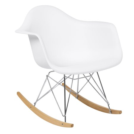 - Best Choice Products Mid-Century Modern Contemporary Eames RAR Style Accent Rocking Lounge Arm Chair Furniture for Living Room, Bedroom w/ Wood Legs - White