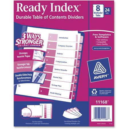 - Avery Ready Index Table of Contents Dividers, 8 Tabs/Divider, 24 Count (11168)