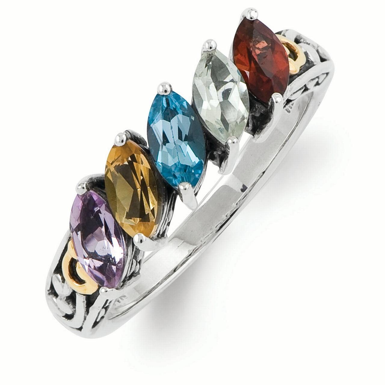 Sterling Silver & 14k Five-stone Mother's Ring Mounting