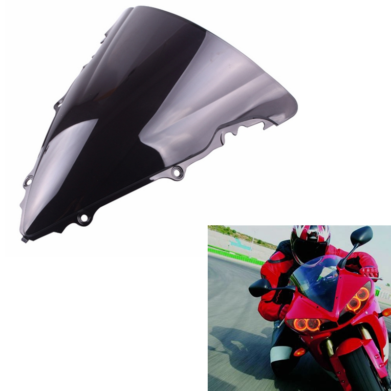 Smoke Smoke Double Bubble ABS Plastic Injection Windscreen Windshield For 2006 2007 Yamaha YZF R6 Clear 9sparts Black