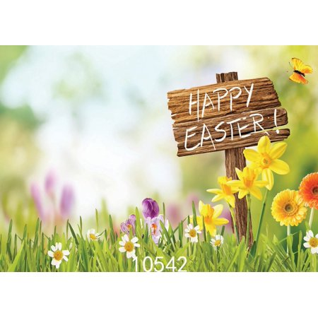 GreenDecor Polyster 7x5ft Happy Easter Photography Backdrop Photo Background Studio Props](Easter Backdrops)