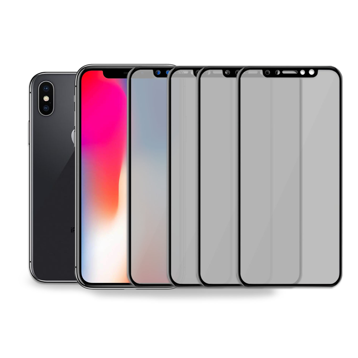 4PK- Reliable and Long Lasting Privacy Screen Protector for Apple iPhone X by SkylerShield, Scratch Proof Anti Spy 3D Full Cover Tempered Glass Screen Protector for Apple iPhone X, iPhone 10