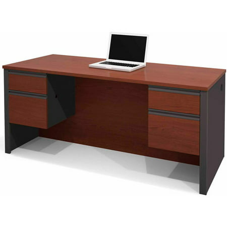 Bestar Prestige + Executive Desk with Dual Half-Pedestals Drawer Pedestal Executive Desk