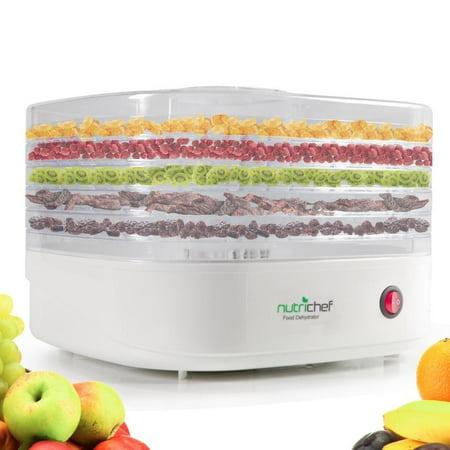 Electric Countertop Food Dehydrator Machine - Professional Multi-Tier Food Preserver, Meat or Beef Jerky Maker, Fruit/Vegetable Dryer w/5 Stackable Trays, High-Heat Circulation - NutriChef AZPKFD06 Beef Jerky Maker