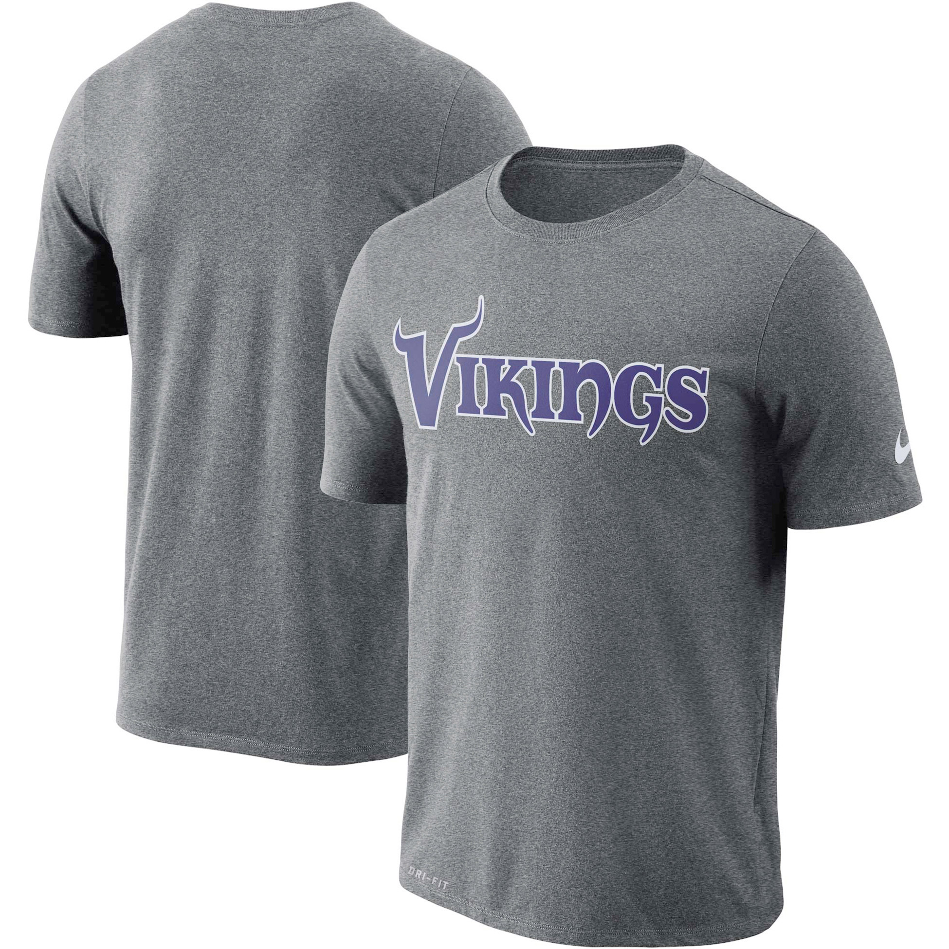 Minnesota Vikings Nike Dri-FIT Cotton Essential Wordmark Performance T-Shirt - Heathered Charcoal