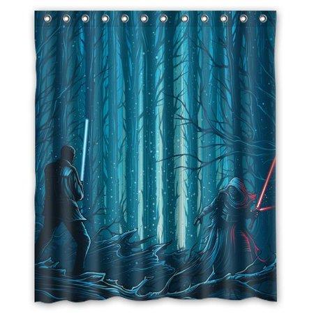 Deyou star wars shower curtain polyester fabric bathroom for Star curtain fabric