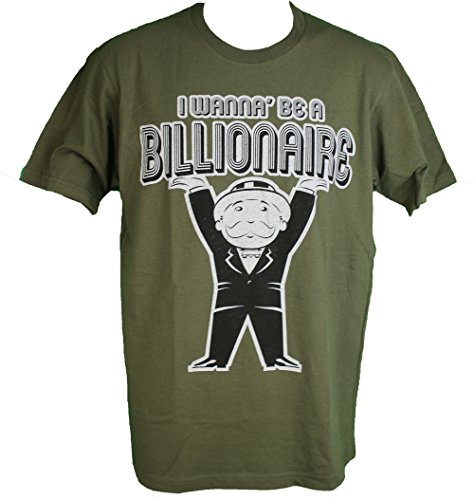 Monopoly Uncle Pennybags Men's Tee Shirt I Want to be a Billionaire Medium (38-40)