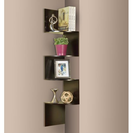 Crespin Espresso Wood Contemporary 4 Tier Shelf Corner Wall Hanging Bookcase Storage Display Organizer