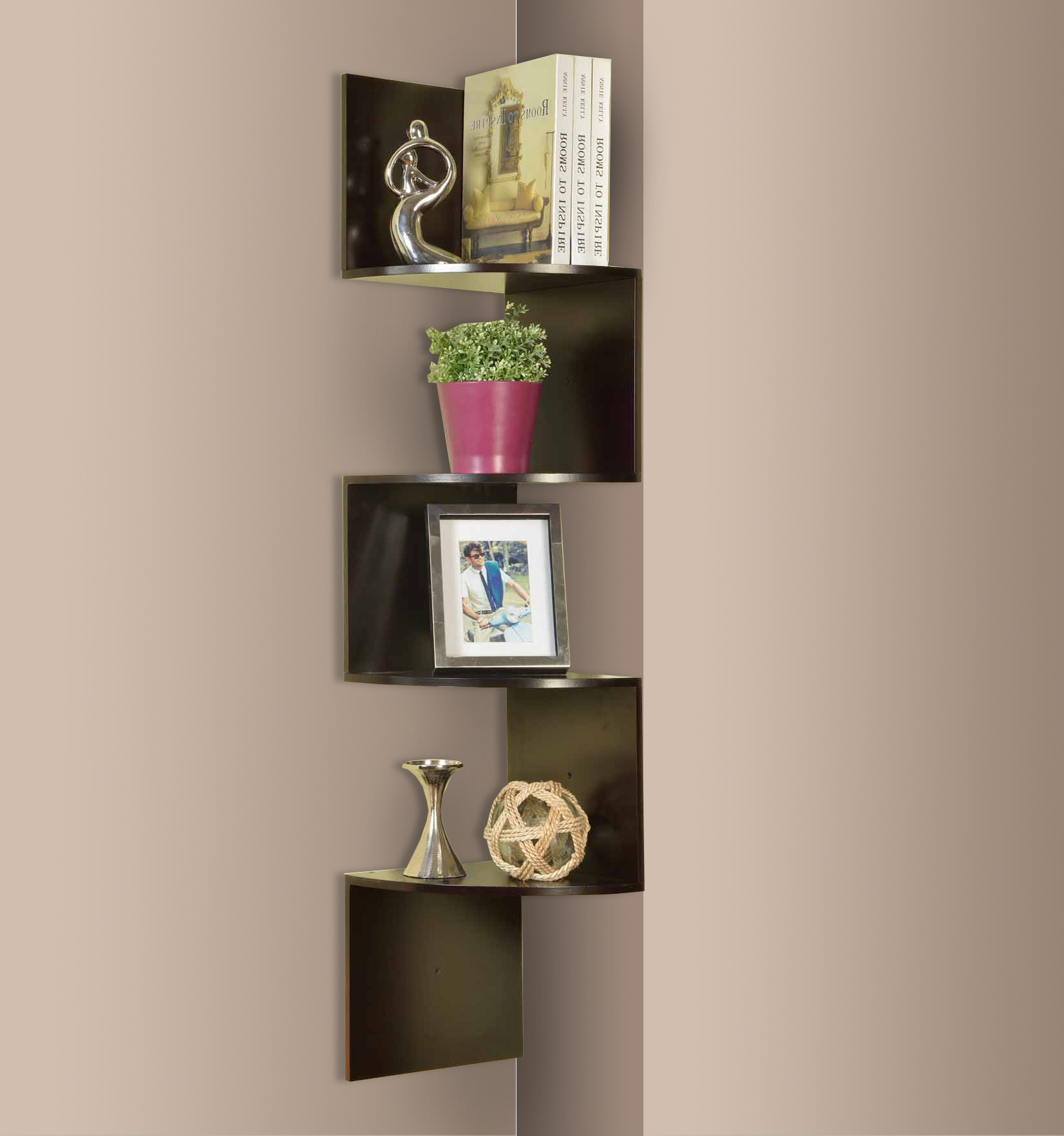 Espresso Wood Contemporary 4 Tier Shelf Corner Wall Hanging Bookcase Storage Display Organizer