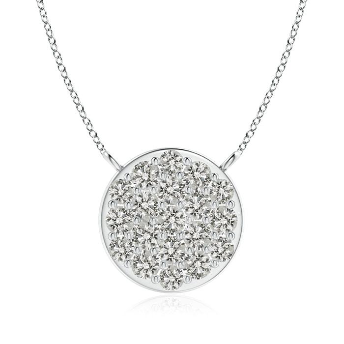 April Birthstone Pendant Necklaces Composite Round Diamond Disc Pendant Necklace in Platinum (1.6mm Diamond)... by Angara.com