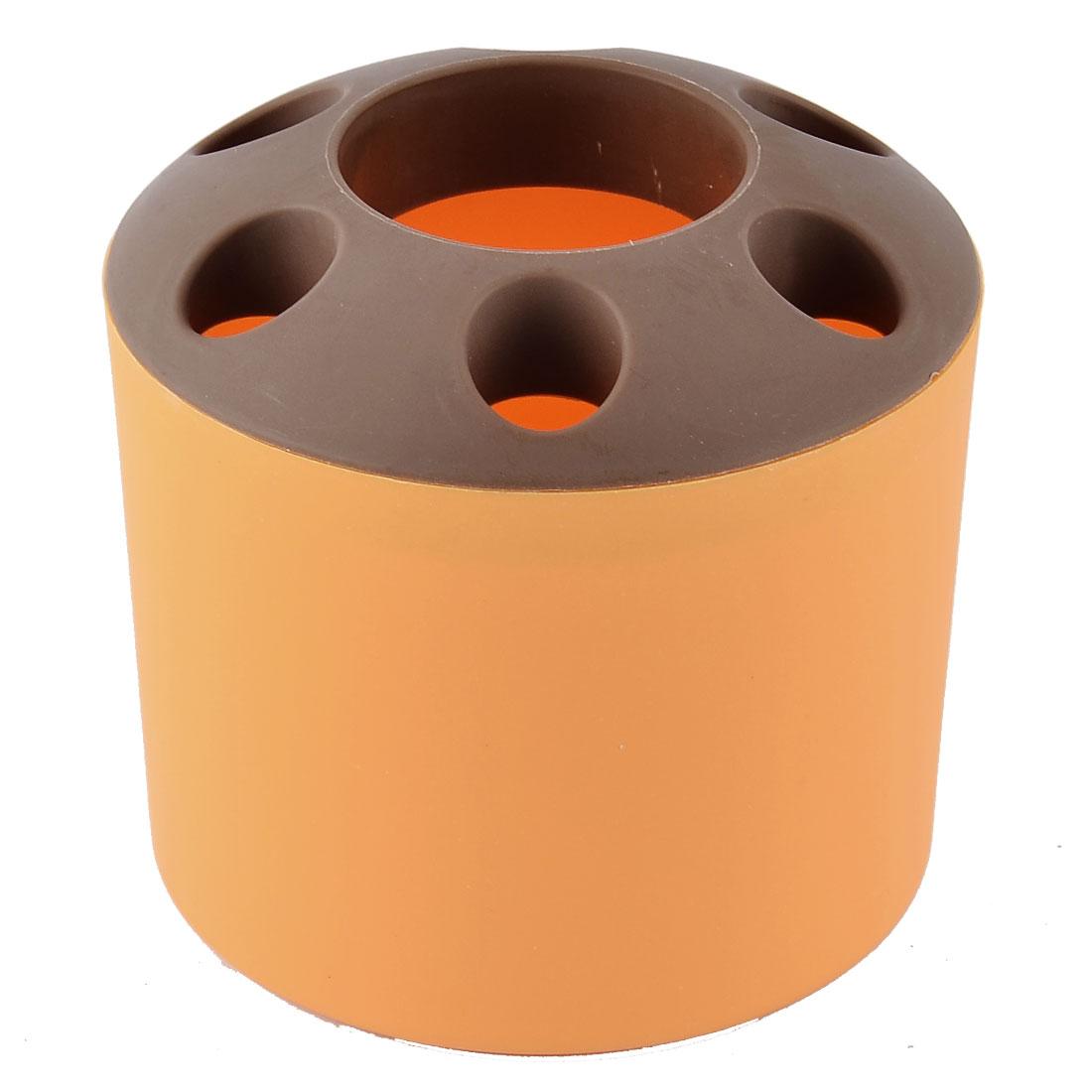 Uxcell Bathroom Toothbrush Toothpaste Plastic Storage Organizer Holder Cup Orange