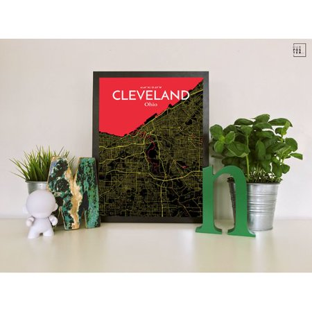 Ourposter Com Cleveland City Map Graphic Art Print Poster In Contrast