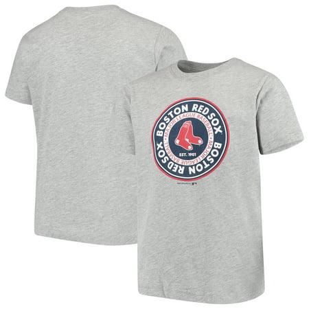 Mlb Circle - Youth Heathered Gray Boston Red Sox Circle Logo T-Shirt