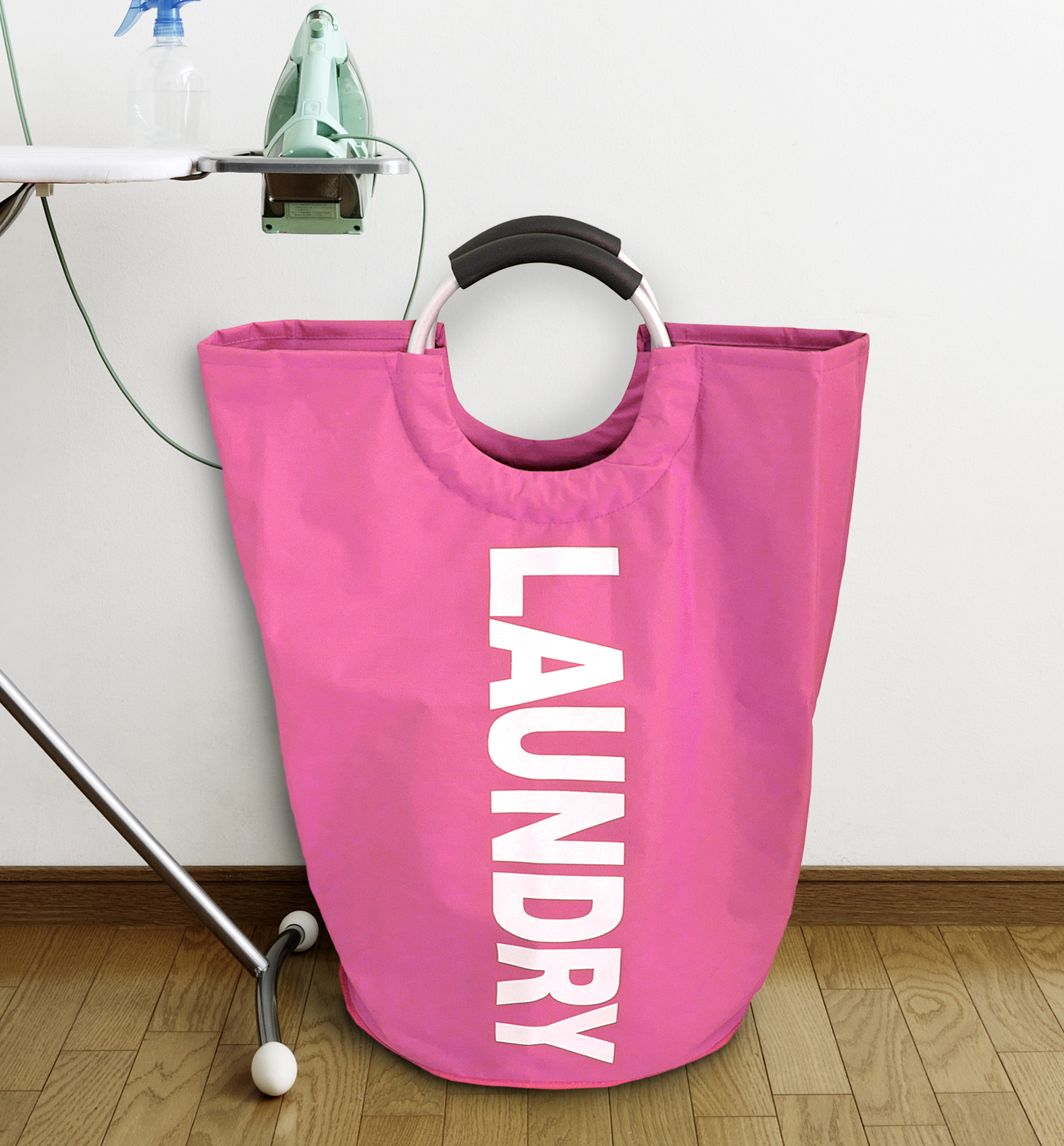 Splash Home Portable Hamper Bag Handles, Easily Foldable Collapsible Large Laundry Storage Basket, 20 x 13 x 21, Pink