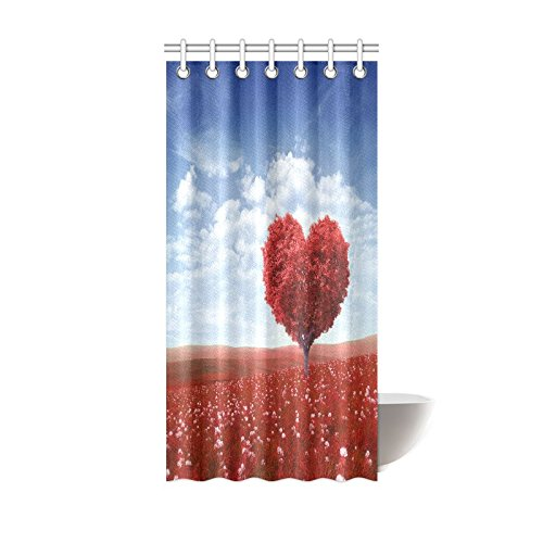 GCKG Valentine Heart Shaped Pink Love Tree Red Flower Blue Sky Shower Curtain Hooks 36x72 Inches Waterproof Polyester Fabric
