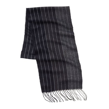 Kingsize Men's Big & Tall Extra Long Scarf (Black And Gray Striped Scarf)