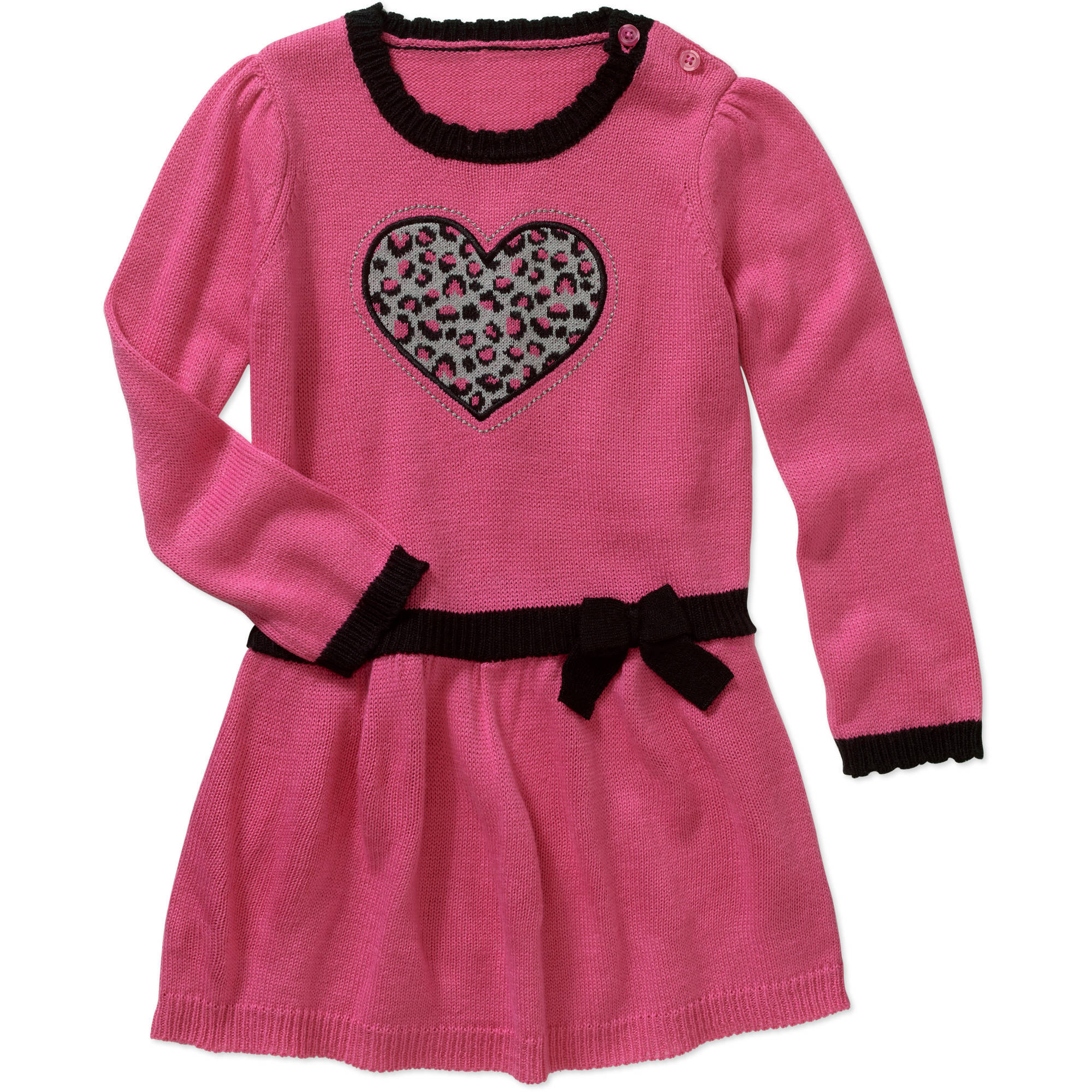 Healthtex Toddler Girls' Heart Detail Drop Waist Sweater Dress