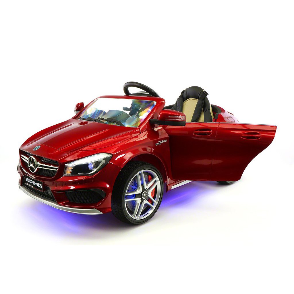 2018 Licensed Mercedes CLA45 AMG 12V Electric Power Rabber Wheels Kids Ride On Vehicles Toys Cars w/ Dining Table and Remote Control CHERRY RED METALLIC