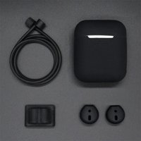 5 in 1 Silicone Cover Case Earphone Set for Airpods Headset Earhook Accessories black