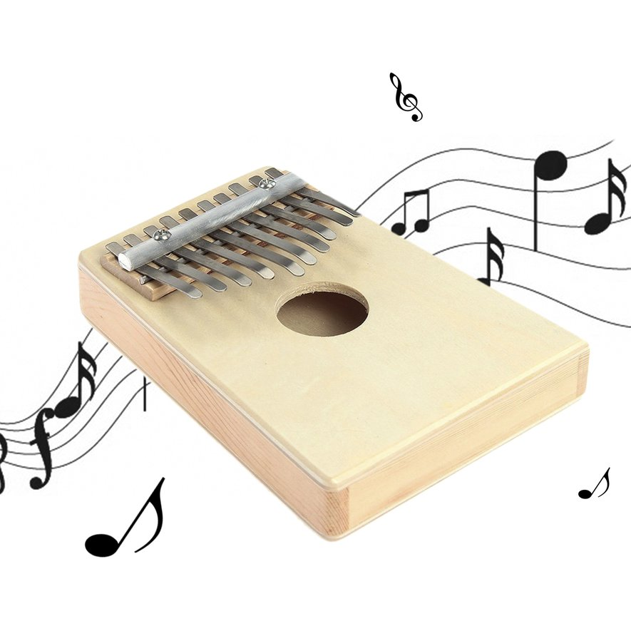 10 Key Finger Mbira Kalimba Thumb Piano Mini Pine Wood Percussion Instrument