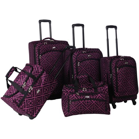 AF 5P Astor Luggage Set Black Purple